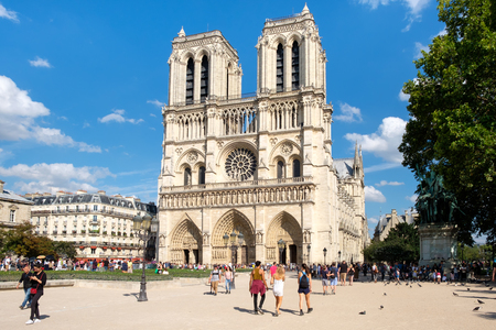 The Cathedral of Notre Dame de Paris on a beautiful summer day