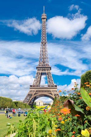 The Eiffel Tower and the Champ de Mars garden in Paris