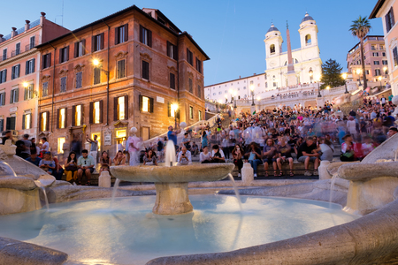 The famous Spanish Steps and Piazza d Spagna in Rome at sunset Editorial