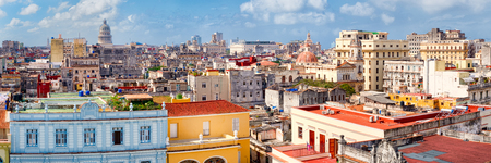 High resolution panoramic aerial view of Old Havana including the Capitol building and several landmarks