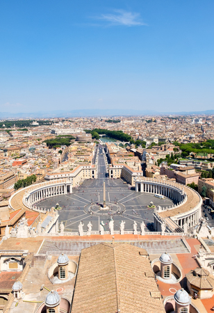 Aerial view of the Saint Peter Square, the Vatican and the city of Rome