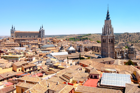 Aerial panorama of the spanish city of Toledo with a view of the historic Alcazar building and the Toledo Cathedral