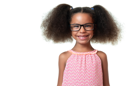 Portrait of a cute african american girl wearing glasses - Isolated on white