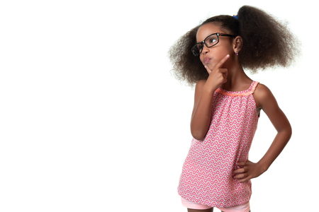 Cute african american small girl wearing glasses and thinking - Isolated on white