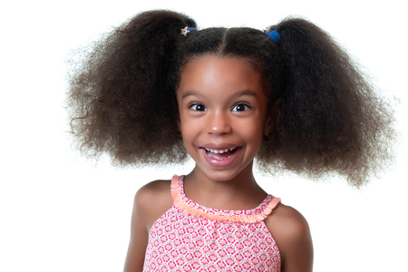 Portrait of a cute african american girl laughing - Isolated on white