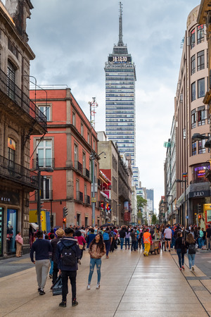 The historic center of Mexico City with the Latin-American tower on the background