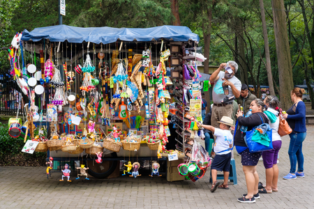 Typical mexican handicraft for sale at the Chapultepec Park market in Mexico City