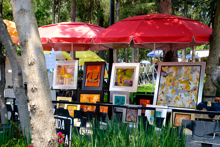 The famous Saturday Bazaar at the San Angel neighborhood selling paintings and traditional works of art