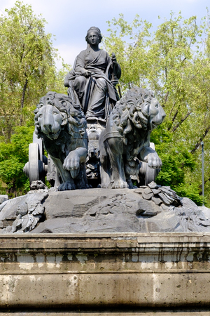 The fountain of Cibeles in Madrid Square, at colonia Roma in Mexico City