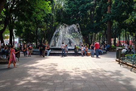 Jardin Hidalgo, a beautiful park at the historic neighborhood of Coyoacan