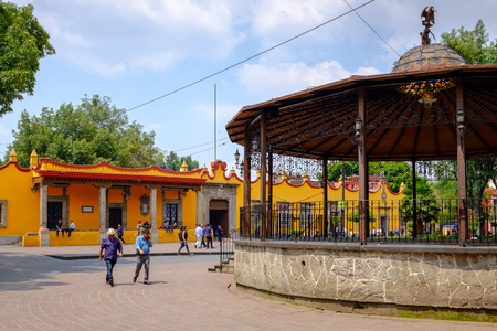 The main square and the town hall at the historic neighborhood of Coyoacan in Mexico City