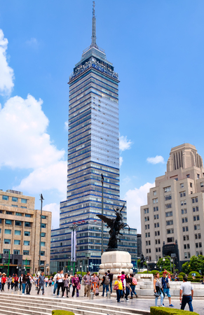 Urban scene with the Latinamerican Tower in downtown Mexico City