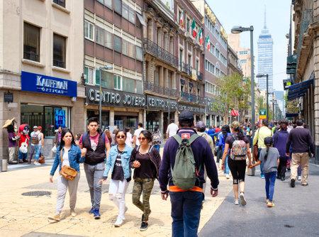 Street scene in the historic center of Mexico City