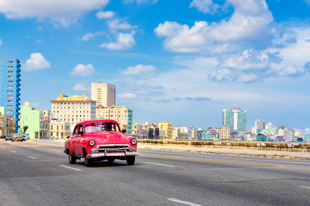 The famous Malecon avenue with a view of the the Havana skyline