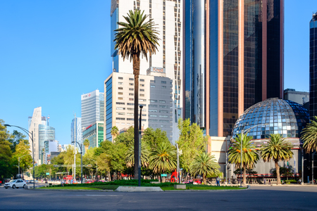 MEXICO CITY,MEXICO - JULY 18,2018 : The Stock Exchange and a view of Paseo de la Reforma in Mexico City Редакционное
