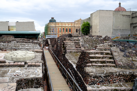 Pre-hispanic ruins of the aztec city of Tenochtitlan situated on the modern Mexico City Editorial