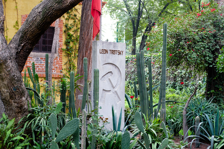 MEXICO CITY,MEXICO - JULY 13,2018 : The grave of Leon Trotsky at the house where he lived in Coyoacan