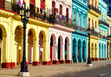 Colorful colonial buildings in Old Havana Фото со стока