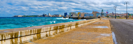 Panoramic view of the Havana skyline and the iconic Malecon seawall with a stormy ocean
