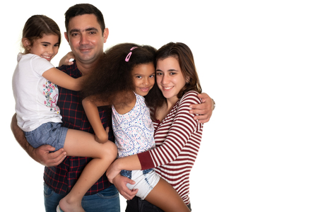Multiracial family, Hispanic father with his three mixed race daughters - Isolated on white