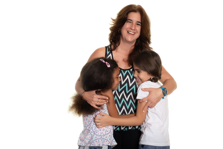 Multiracial family, Hispanic mom with her two mixed race small girls - Isolated on white Фото со стока