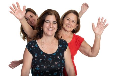 Three generations of hispanic women - Isolated on white Фото со стока