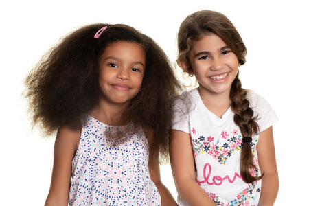 Hispanic and african american small girls  - Isolated on white