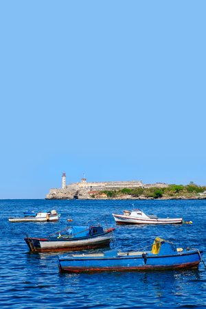 The bay of Havana with small fishing boats on a beautiful summer day Stock Photo