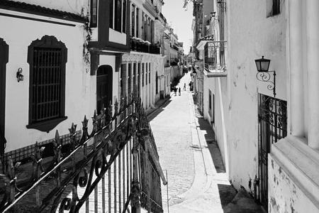 Black and white street scene in Old Havana