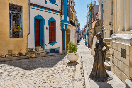 The beautiful Square of the Angel and a street with colorful buildings in colonial Old Havana