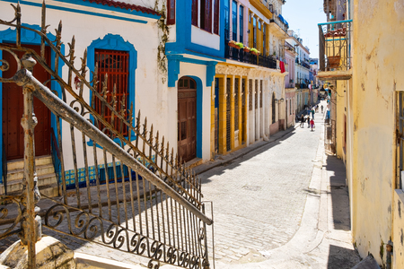 Street scene with colorful buildings in colonial Old Havana