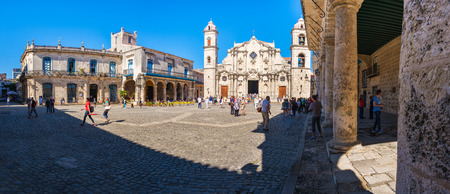 The Cathedral of Havana and its adjacent square and colonial palaces