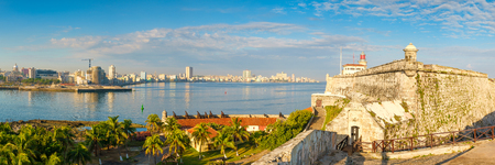 High resolution panoramic view of the city of Havana, the bay and El Morro lighthouse