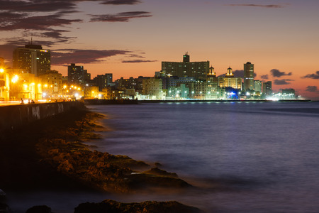 Havana at night - The   Havana seaside skyline illuminated at night