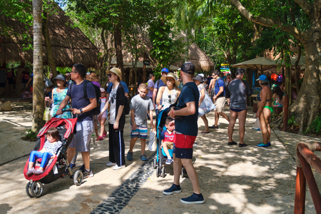 Families at the XCaret ecotourism park at the Mayan Riviera in Mexico