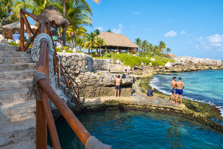 XCARET,MEXICO - APRIL 16,2019 : The XCaret park  on the Mayan Riviera in Mexico on a beautiful sunny day Редакционное