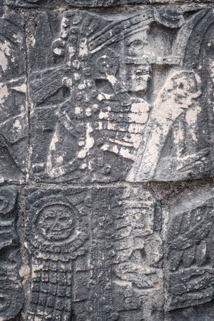 Ancient mayan stone reliefs