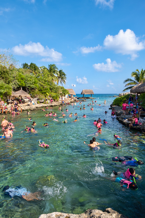 XCARET,MEXICO - APRIL 16,2019 : Snorkeling at XCaret park on the Mayan Riviera