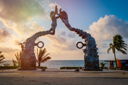 Fundadores park at sunrise at the beach town of Playa del Carmen in Mexico