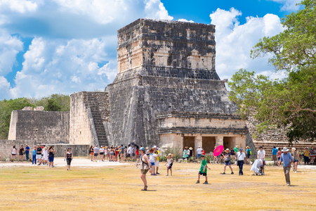 The mayan ball game arena at the ancient city of Chichen Itza in Mexico