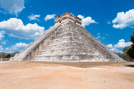 The Temple of Kukulkan, an iconic building at the ancient mayan city of Chichen Itza