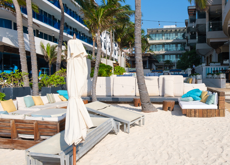 Beach Club by the seaside at the touristic city of Playa del Carmen on the Mayan Riviera
