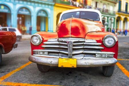 Colorful scene with classic car in Havana