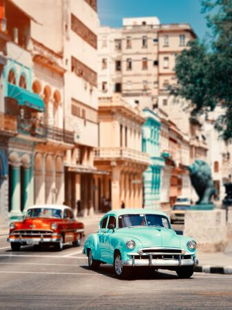 Old classic cars  in downtown Havana