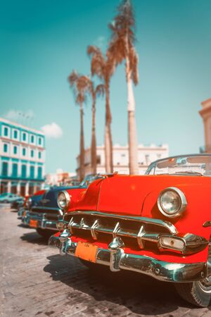 Colorful antique cars in Old Havana