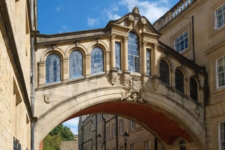 The ancient Bridge of Sighs at the city of Oxford in England