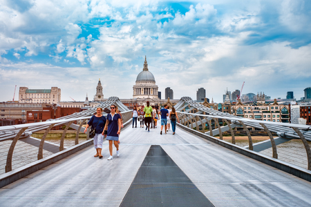 The Millennium Bridge and Saint Paul Cathedral on a typical cloudy day in London