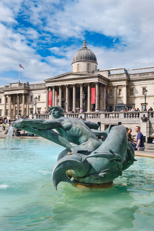 Trafalgar Square and the National Gallery in London on a beautiful summer day