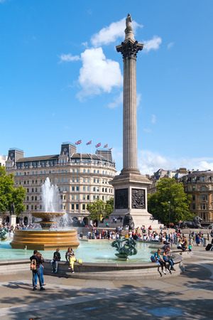 Trafalgar Square and the Nelson Column in London on a sunny summer day Redakční