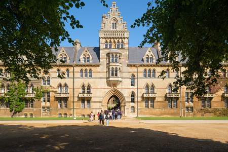 Students and visitors at the Christ Church College at the University of Oxford